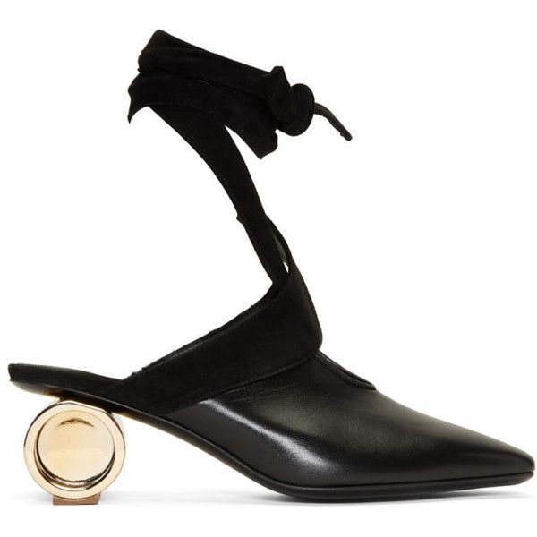 J.W. Anderson Black Cylinder Ballet Heels ($1,075) ❤ liked on Polyvore featuring shoes, pumps, black, metallic pumps, slip-on shoes, square toe pumps, metallic shoes and black ankle strap pumps