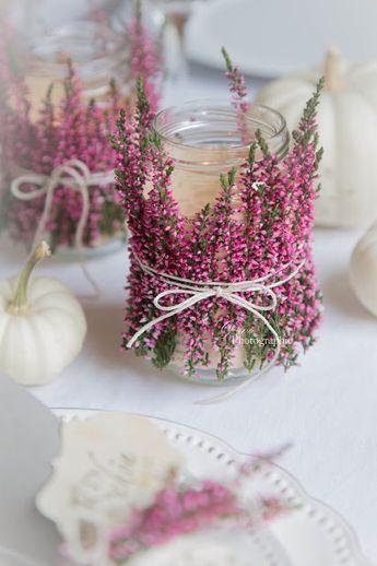 Herbstliche Windlichter und Geschenkidee aus Heidekraut