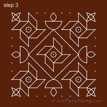 11x11 Dot Rangoli Step 3