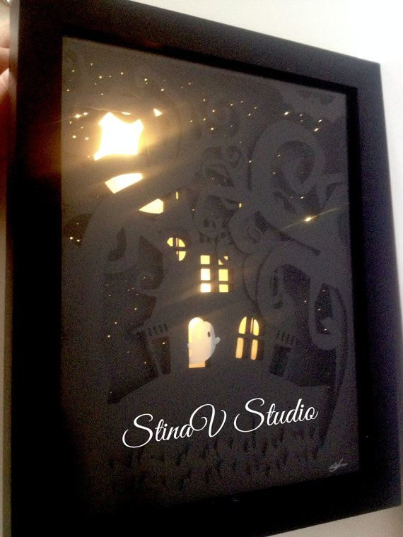 Cute Haunted House with Ghost Lit Shadow Box by StinaVStudio