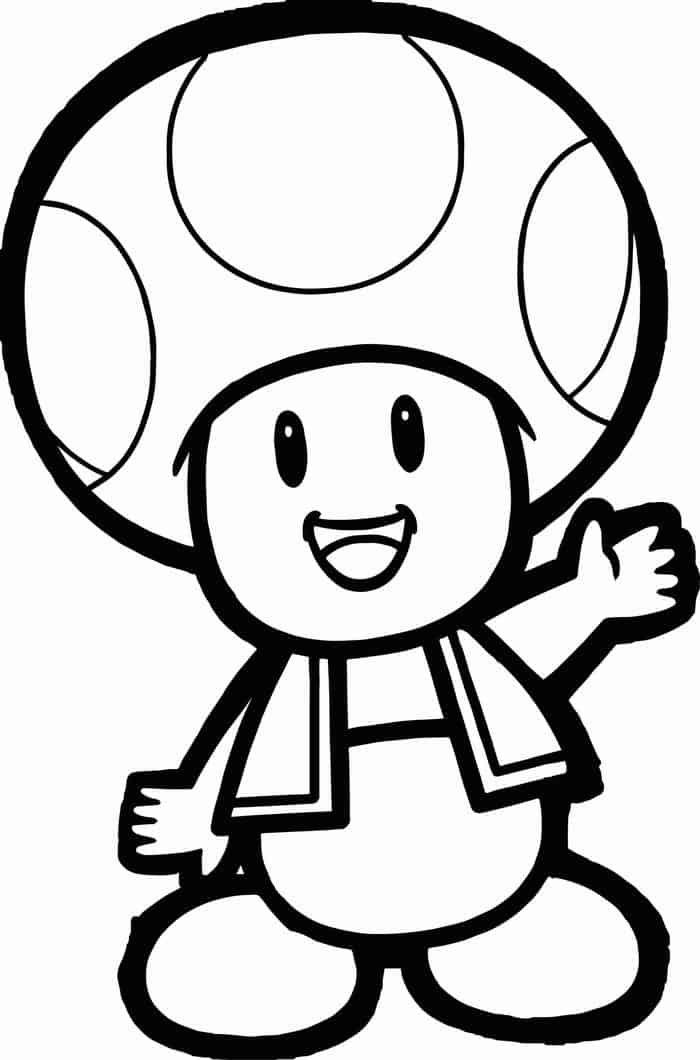 Mario Toad Coloring Pages in 2020 | Super mario coloring ...