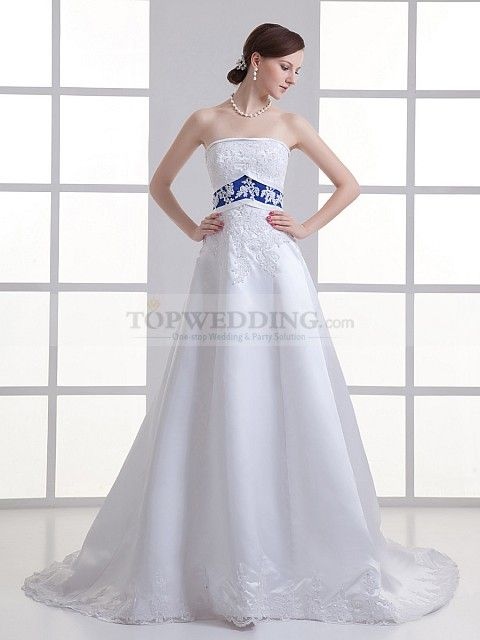 Strapless Satin Applique Detailed Wedding Dress with Embellished Sash - Classic 1940s style wedding gown