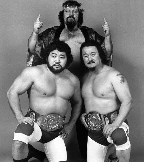 Mr Saito, Lou Albano (mgr), & Mr Fuji