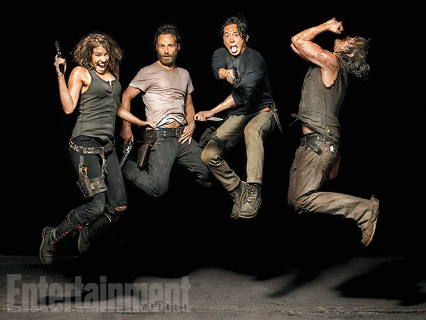 Maggie Greene (Lauren Cohan), Rick Grimes (Andrew Lincoln), Glenn Rhee (Steven Yeun), and Daryl Dixon (Norman Reedus) of #TheWalkingDead