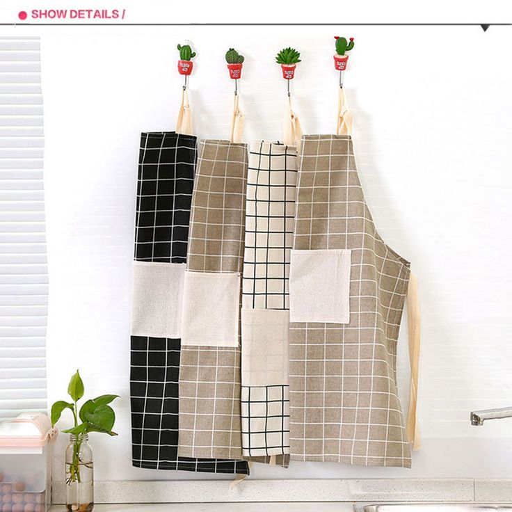KCASA KC-APR02 Cotton Linen Dirty Proof Apron Fashion Lattice Unisex Women Man Aprons Commercial