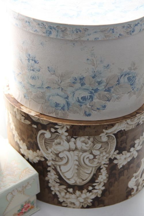 ~ pretty vintage wallpaper-covered boxes...these would be so simple to make