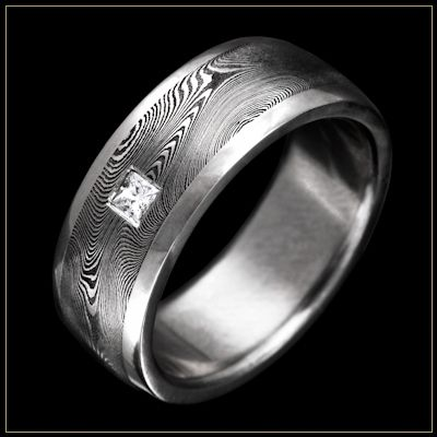 BOLD Damascus Steel Mens Wedding Ring With Starlight Pattern Stainless Channel And Flush