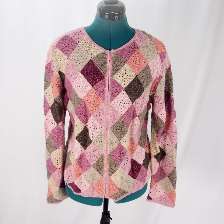 Talbots Womens Cardigan Zip Up Crochet Granny Square Patch Pink M #Talbots #Cardigan