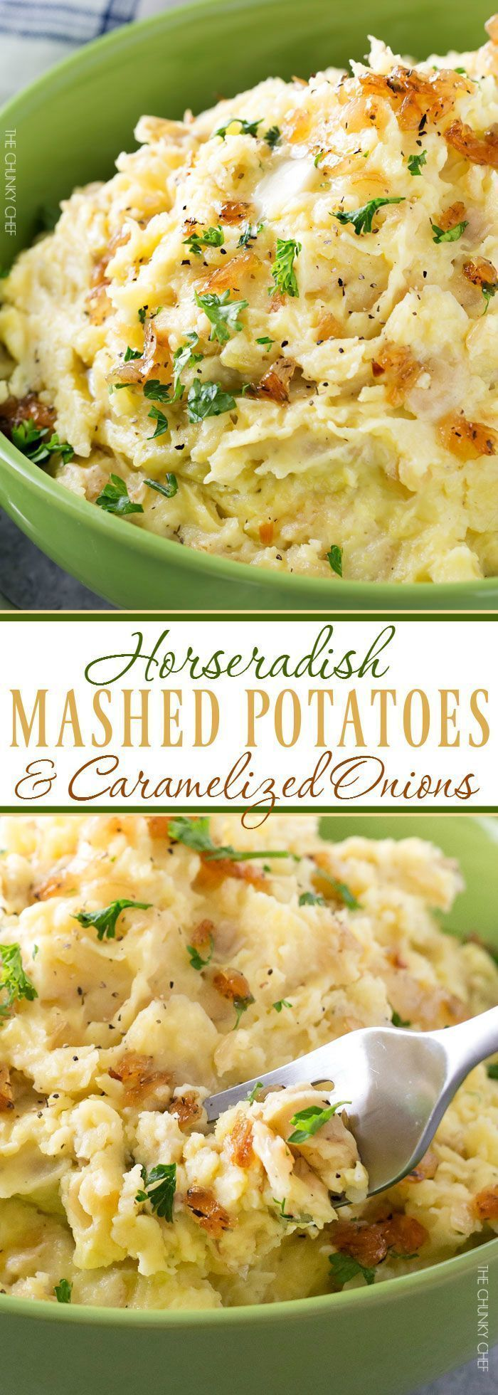Horseradish Mashed Potatoes with Caramelized Onions | Not your average side dish, these mashed potatoes are full of amazing flavor combinations. Perfect for your holiday table! | thechunkychef.com