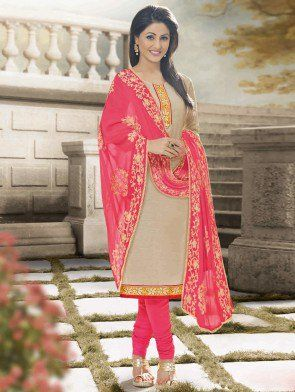 Beige Cotton Suit with Lace Work