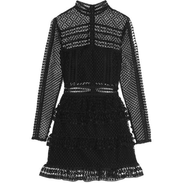 Self-Portrait Tiered guipure lace mini dress (18,425 PHP) ❤ liked on Polyvore featuring dresses, self portrait, vestido, black, long sleeve cocktail dresses, lace mini dress, long sleeve short dress, black cocktail dresses and long sleeve dress