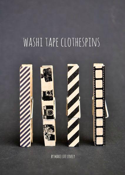 #papercraft #washi tape ideas DIY Washi Tape Clothespins