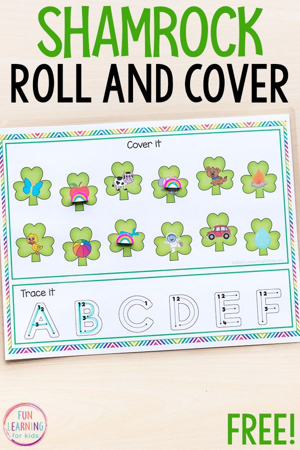 This shamrock roll and cover letter sounds activity will make learning letters a fun, hands-on experience this St. Patrick's Day! It is perfect for literacy centers and kids in preschool and kindergarten.