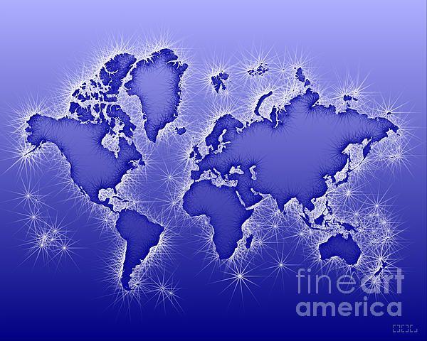 World Map Opala In Blue And White by elevencorners. World map art wall print decor #elevencorners #mapopala