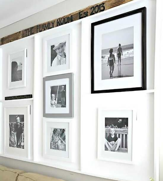 This built-in DIY photo display perfectly accentuates family photos with a white backdrop and dividers.