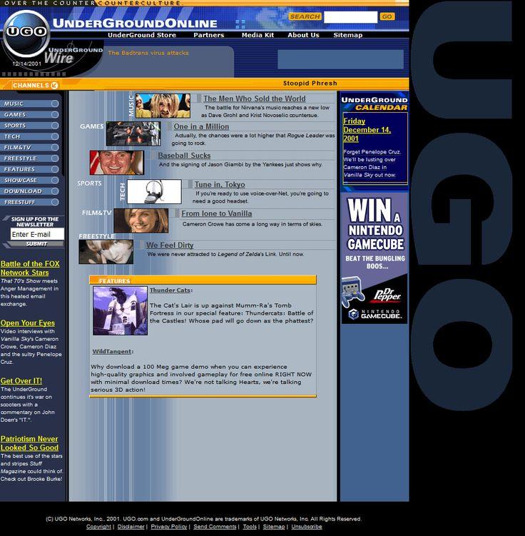 UnderGround Online website in 2001