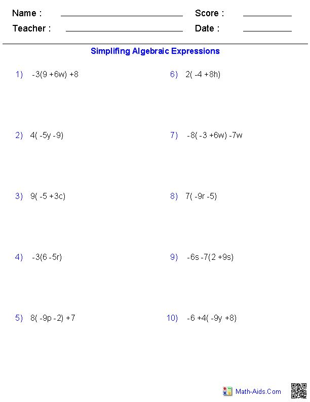 Algebraic Subtraction Worksheets. How To Simplify Algebraic Expressions  Best 20+ Simplifying Algebraic Expressions Ideas On Pinterest Printable  Algebra ...