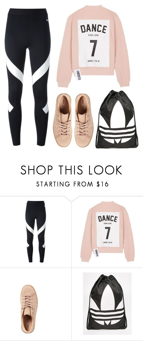 """""""Dino X Dance Practice"""" by jleeoutfitters ❤ liked on Polyvore featuring NIKE, Studio Concrete and adidas"""