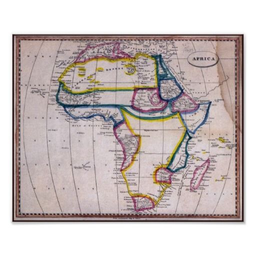 African Colonization Map Circa 1812  Poster
