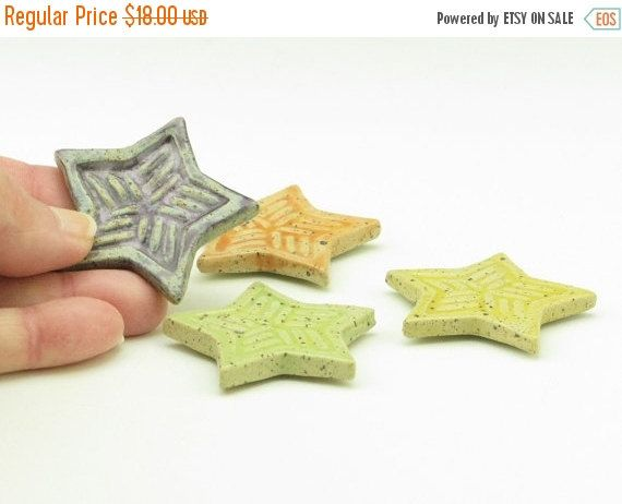 Pottery SALE Four Pottery Star Magnets, Small Hand Stamped Magnets, Kitchen Refrigerator Magnets, Home & Office Decor, Stocking Stuffer