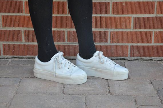 90s Platform Sneakers // White Sneakers // Chunky Shoes // 90s