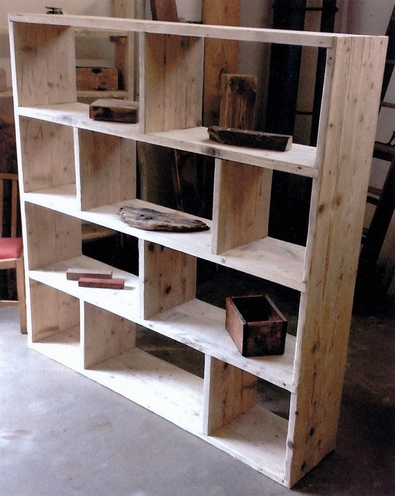 Reclaimed Wooden Future Rustic Room Divider Shelving Unit Vinyl Storage By