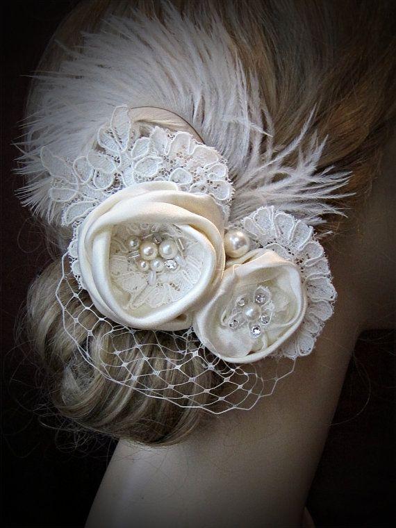 Wedding hair accessories, Bridal  wedding hair Piece, Feathers Birdcage Veil Ivory headpiece fascinator ,vintage wedding hair accessories
