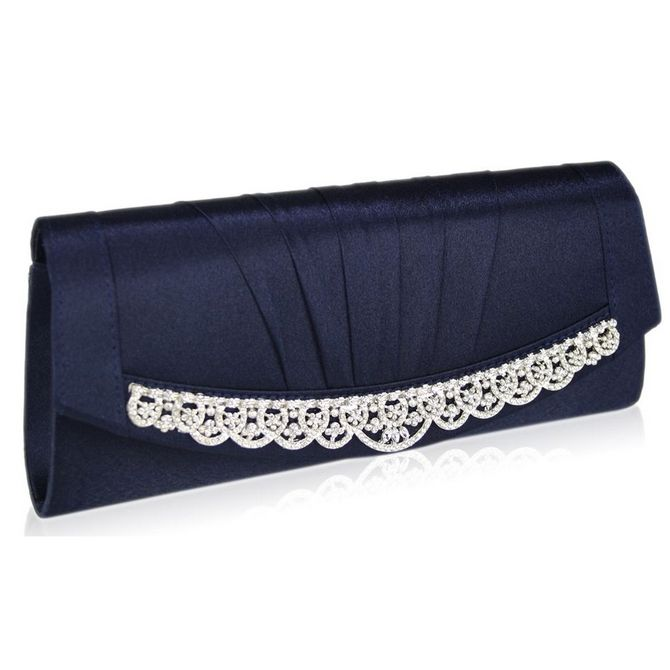 Sparkling diamante & navy satin clutch bag for proms or weddings.