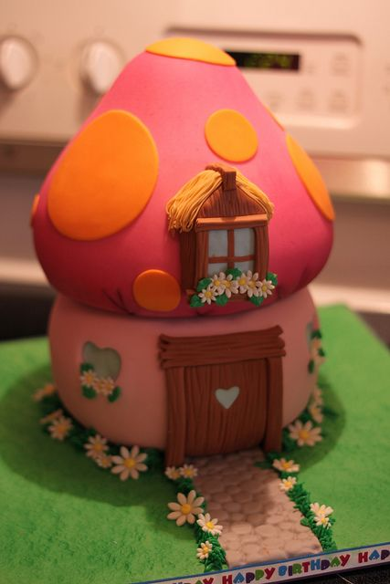Smurfette's House cake - Closer shot by Andrea's SweetCakes, via Flickr