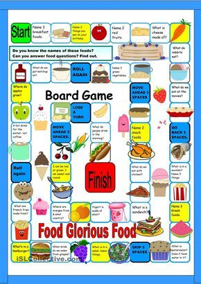 Board Game:Food | FREE ESL worksheets Repinned by Chesapeake College Adult Ed. We offer free classes on the Eastern Shore of MD to help you earn your GED - H.S. Diploma or Learn English (ESL). www.Chesapeake.edu