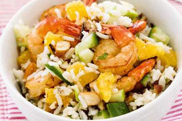 Chilli prawns with almond rice salad