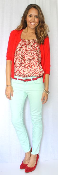 red top with my mint shorts - Js Everyday Fashion: Todays Everyday Fashion: Cherries