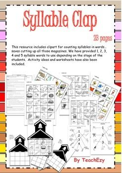 Syllable Activities for Grades 1-2 This resource includes clipart for counting syllables in words…saves cutting up all those magazines. We have provided 1, 2, 3, 4 and 5 syllable words to use depending on the stage of the students.  Activity ideas and worksheets have also been included.
