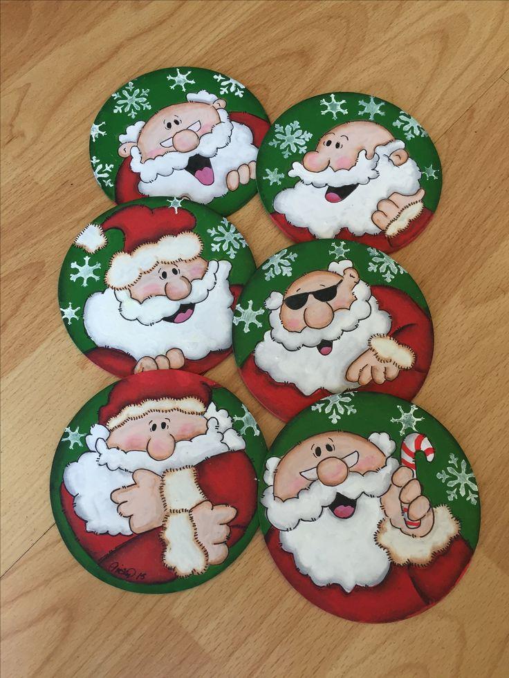 Juego de Portavasos 6 pzas Navidad Christmas Santa