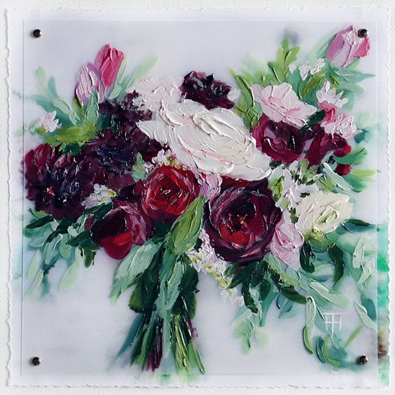 Custom painting of your wedding bouquet by Terri Heinrichs.