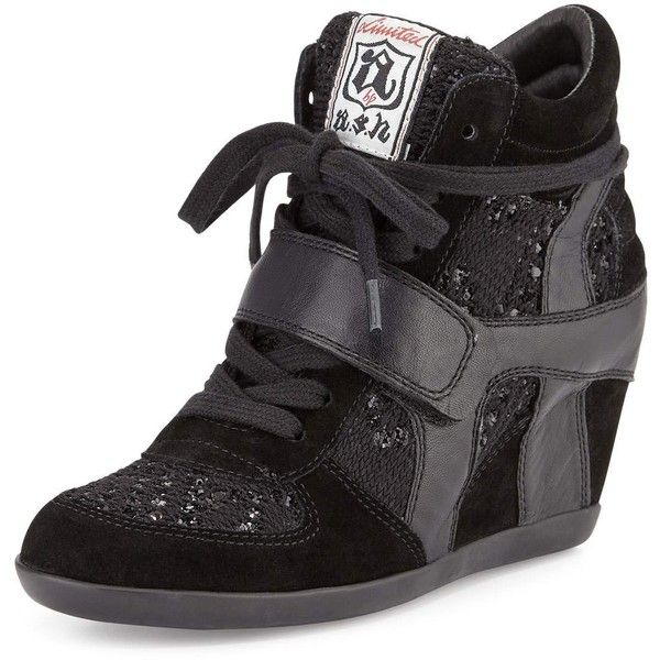 Ash Bowie Sequined Hidden-Wedge Sneaker (140 CAD) ❤ liked on Polyvore featuring shoes, sneakers, ash trainers, lace up shoes, suede wedge sneakers, strappy shoes and suede shoes