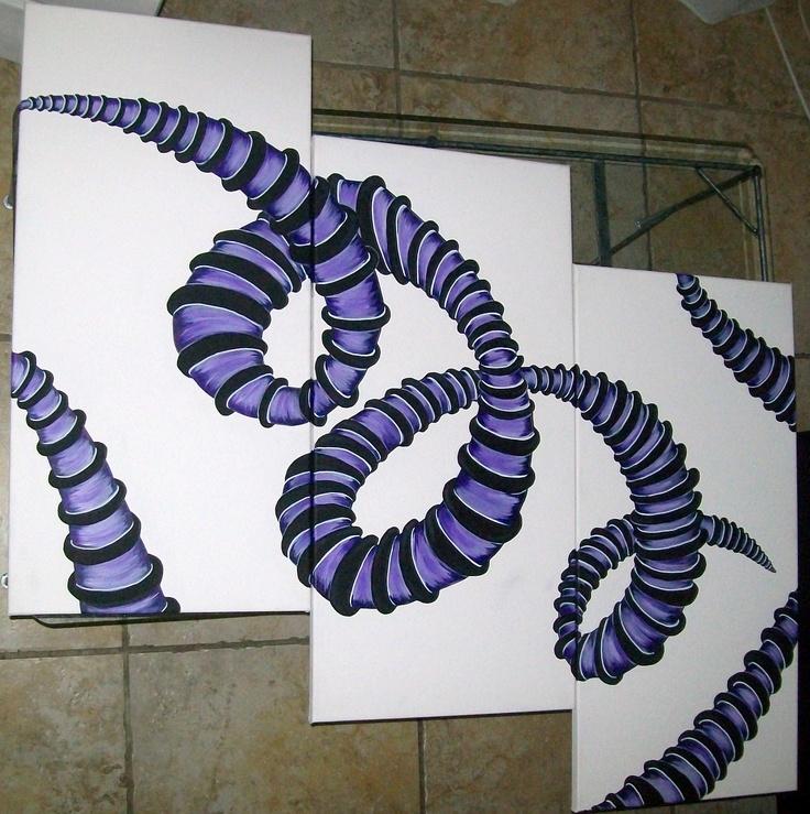 75/37 cm  lot de 3 toiles peinture acrylique aquarelle