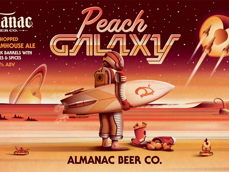Here's a close up view of the Peach Galaxy beer label we designed for Almanac Beer Co.  Full blog post here.