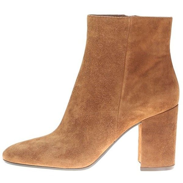 Camel Suede Ankle Boots ($430) ❤ liked on Polyvore featuring shoes, boots, ankle booties, brown, suede bootie, suede ankle boots, ankle boots, brown booties and brown high heel boots