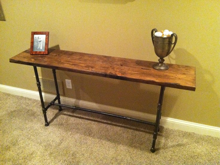reclaimed distressed wood black iron pipe table for my