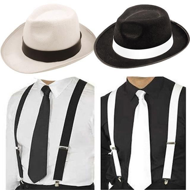 ADULT GANGSTER DELUXE TRILBY HAT BRACES TIE 1920'S GATSBY BUGSY MALONE AL CAPONE #Fashion #Style #Deal