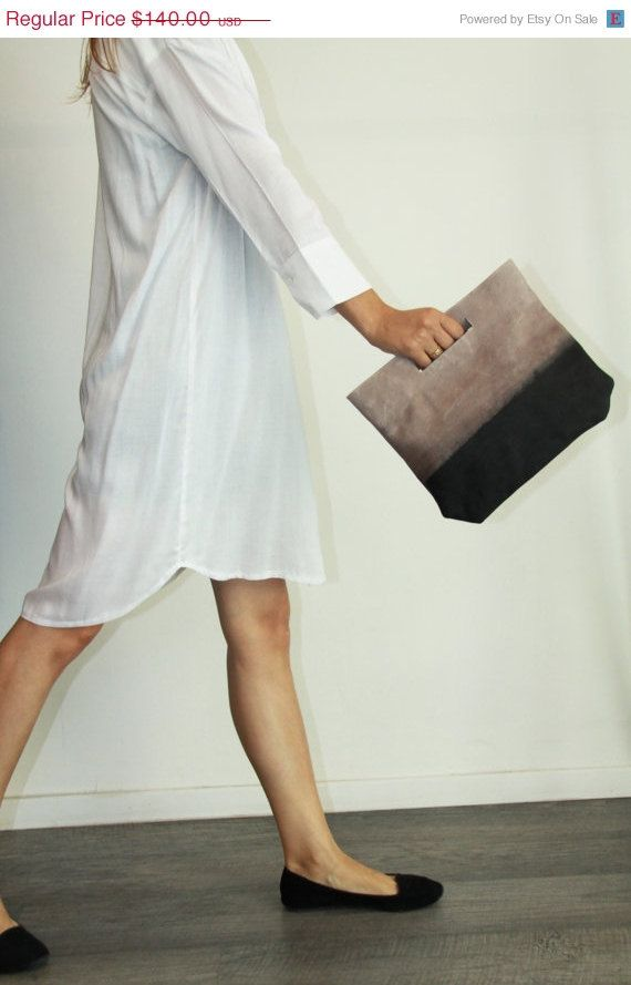 Ombre leather clutch  Evening bag  Lucy clutch by LadyBirdesign, $119.00