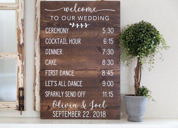 Wedding Schedule Wood Sign Wedding Events Sign Custom Wedding Day Schedule Wedding Signs Wedding Schedule Wood Wedding Signs Wedding Day Schedule