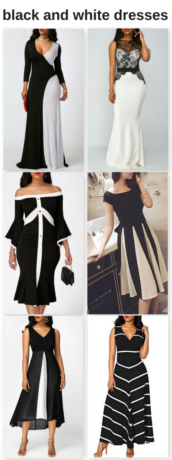 Black and white dresses and gowns okay