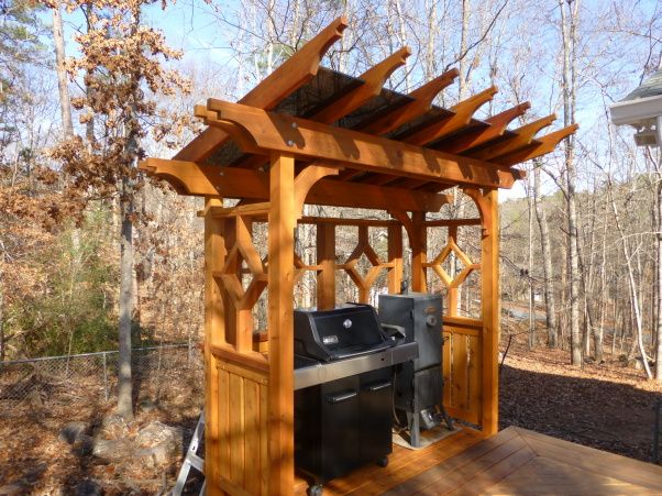 Cedar Pergola Grill Area with Plexiglass Roof, I decided to add a bump-out to the deck for a dedicated grill area. My wife said she would like to have a roof over it.