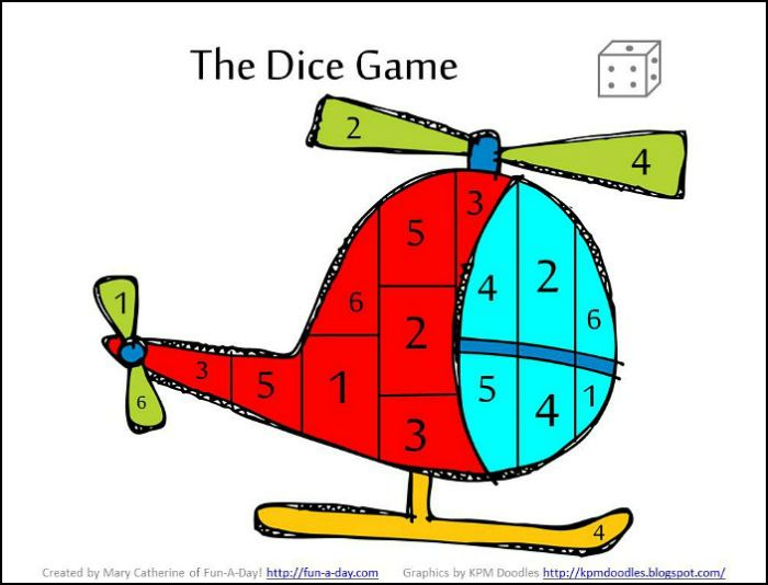 Helicopter dice game - math activities for a preschool transportation theme