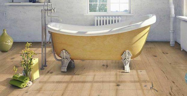 Klick vinyl bodenbelag holzoptik eiche massiv für zeitgenössische Badezimmerbodenideen
