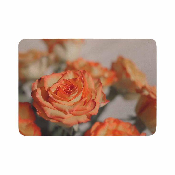 """Angie Turner """"Roses"""" Orange Floral Memory Foam Bath Mat"""