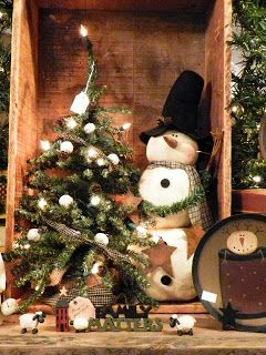 DIY Take An Old Wooden Box...stand it on end and add a cute decorated tree and a sweet snowman for a special Christmas decoration!