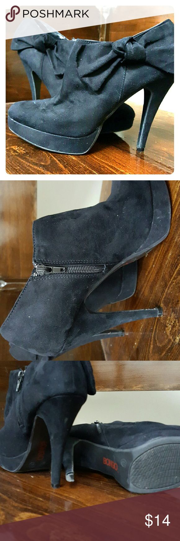 Black Platform Booties 5 inch heels,  zipper on inside, all fabric covers heel and platform, bow on outside 9W bogo Shoes Ankle Boots & Booties